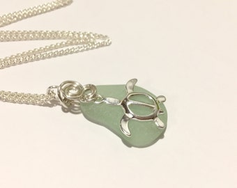 SS Seaglass Necklace turtle necklace SS wired  Sea Glass Necklace Seaglass Jewelry Beach Glass Jewelry Handmade, Custom Jewelry