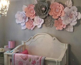 9 Piece Paper Flower Set, Bridal Decor, Wedding Decor, Large Paper Flower