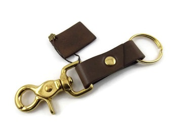 Leather key ring, key ring, key fob, key chain, brass key ring, brown key ring, brown key chain, trigger snap key ring, ring for keys