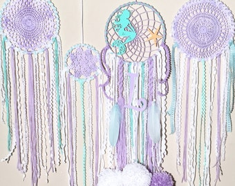 Little mermiad, disney, mermaid theme, customized dream catchers, purple, aqua, nursery, birthday decor