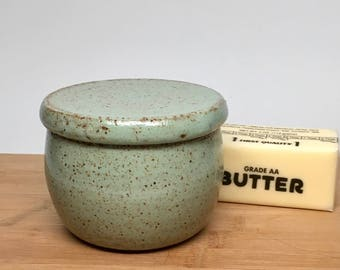 Pottery French Butter Crock, Ceramic Butter Keeper, Garlic Roaster