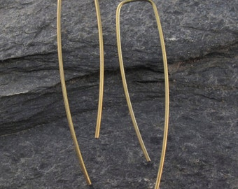 TITANIUM EARRINGS. titanium dangle earring. long titanium threader earring, hoop. yellow titanium. nickel free earrings No.00E260
