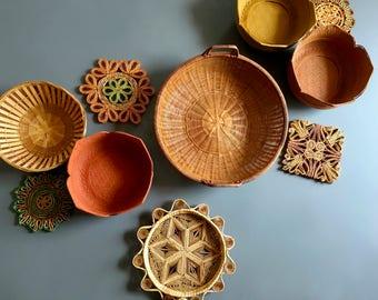 Vintage Boho Colorful Trivet & Lotus Flower Inspired Wall Basket Gallery / Wall Basket Set - Includes 10 Boho Baskets and Handpainted Detail