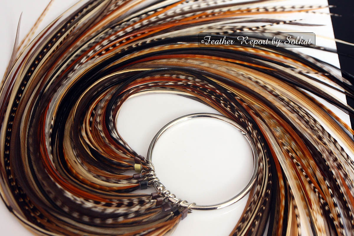 Boho Hair Accessories Feather Extensions Diy Kit Brown Beige