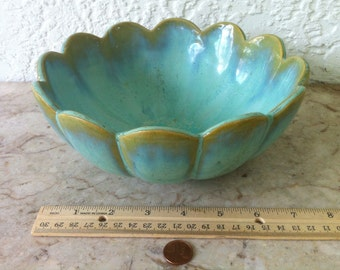 Fulper Console Bowl, Green Crystalline Glaze, American Art Pottery, Shape 674, Antique Museum Quality Rare