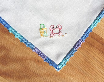 Crab Pocket Square - A Hand Stitched Beach Handkerchief which is Embroidered Unique Ocean Art