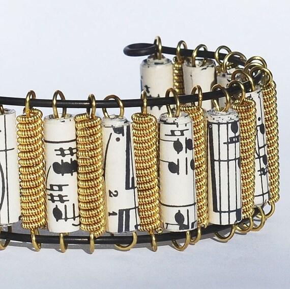 guitar string bracelet brass sheet music paper bead cuff. Black Bedroom Furniture Sets. Home Design Ideas
