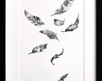 Watercolour feather painting, Falling feathers, Original artwork, Feather artwork, Monochrome painting, Modern feather art, Black white art