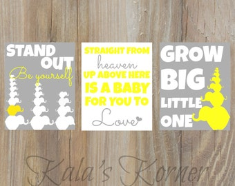 Elephant Nursery Art, Yellow Gray, Playroom Art, Elephant Decor, Children wall art, Baby, Dumbo , Elephant Art, Elephant Print, Baby Name