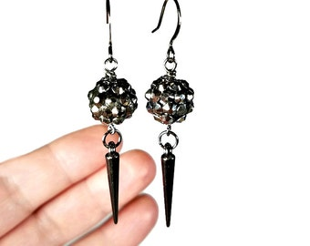 Sparkly Gunmetal Spiked Earrings, Black Dangle Earrings, Spiked Jewelry, Edgy and Cute, Gift for Her
