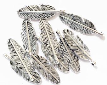 Bulk 140 pcs of antique silver finished feather charm 30x9mm, alloy feather charm, bulk antique silver feather pendant