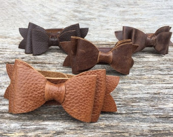 Leather Cuff Bracelet - Leather Bow - Chestnut Brown - Rustic - Pretty - Gift for Her - Medium- Leather Jewelry - by Stacy Leigh