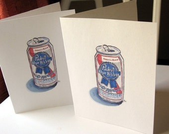 Pabst Beer Cards, Watercolor Art Notecards, Set of 8