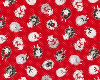 Red Knitting Sheep on Pin Dot by Timeless Treasures
