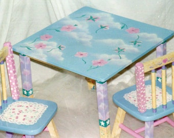whimsical table and chair set hand painted flower table set kids furniture & hand painted sea life table set checkers childu0027s table