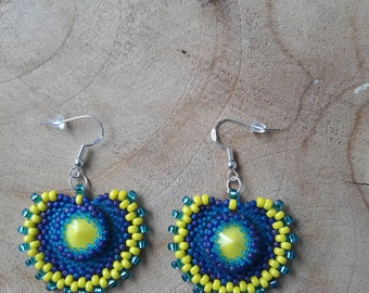 Circular setting earrings.