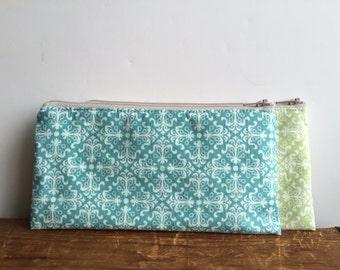 Blue Pencil Case, Damask Pencil Case, Zipper Pencil Pouch, Back to School, Blue and White Damask, Makeup Bag, Toiletry Pouch
