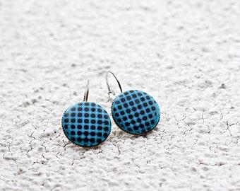 Blue earrings Handmade jewelry Teen girls gift Geometric jewelry Minimalist earrings Modern casual gift for her For wife jewelry Gifts women