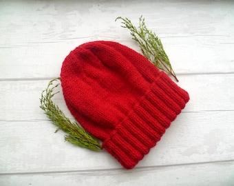 Men's Red Wool Beanie, Hand Knit Watch Cap, Hand Knit Beanie, Men Knit Hat, Red Wool Alpaca Watchman Cap, Red Wool Beanie, ClickClackKnits