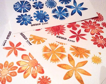 DIY colorful flowers collage sheet, yellow red orange blue, printable blossoms blooms, hand drawn DIY embellishments, decorations, 4pdf, jpg