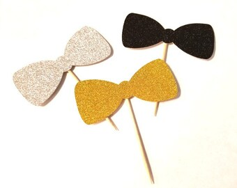 Glittered Bowties - Cupcake Toppers  - 12 Count