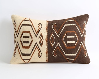 12x18 Brown and cream lumbar kilim pillows cover