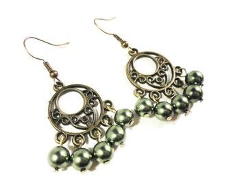 Green Pearl Chandelier Earrings, Beaded Faux Pearl Glass Earrings, Pine Green Bead Earrings, Bronze Hoop Earrings, Women's Beadwork Jewelry