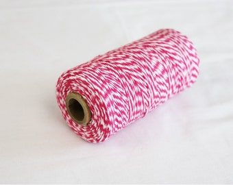 Hot Pink and White Bakers Twine - 10 yards