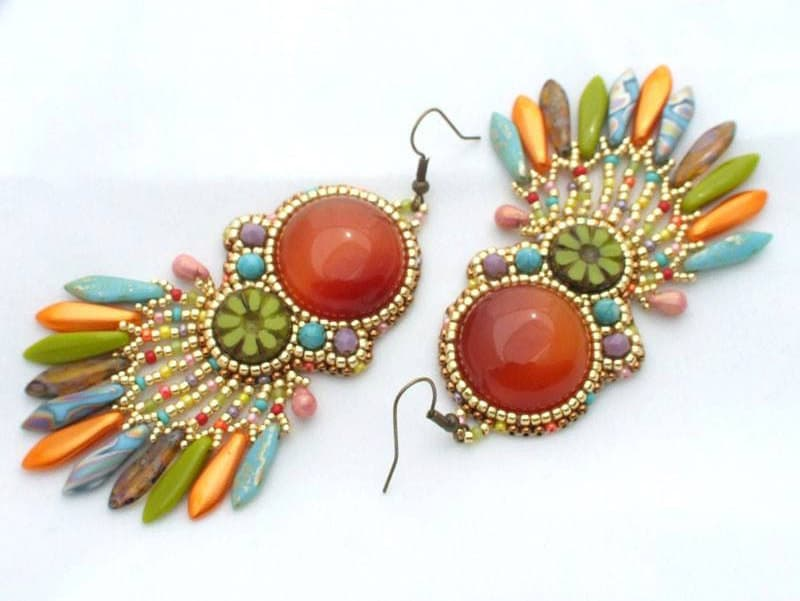 peyote beading bead pattern tube earrings spiral diy