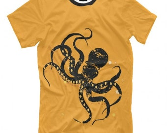 Octopus Black on Yellow T-Shirt