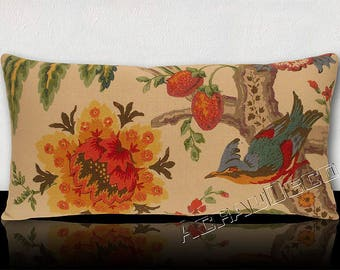 Panoramic cousin XXL 70 cm X 34 cm-tree of life/big exotic bird of paradise/flowers and foliage / multicolored fruit.