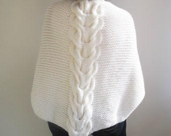 White Wedding Shawl With Cable Knit by Afra
