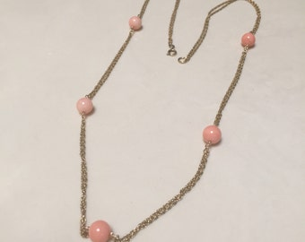 Genuine Angel Skin Coral Bead Necklace 12K Yellow Gold Textured Double  Rope Chain Vintage 1970s