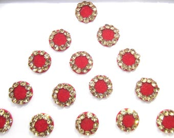 Bridal Red Round Bindis ,Round Bindis,Velvet Red Bindis,Wedding Round Bindis,indian bindi,Bollywood Bindis,Self Adhesive Stickers Pack