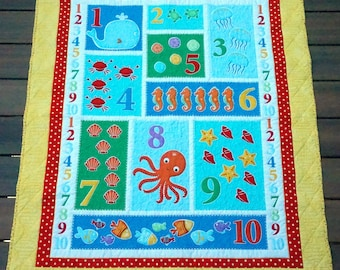 Quilt Set - Numbers and Sea Animals Baby, Toddler, Crib Quilt with Matching Pillow