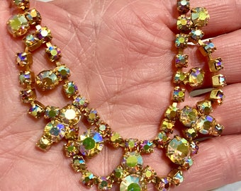 VIntage gold Aurora Borealis rhinestone necklace from the 1950's - 1960's.  excellent condition. Unmarked. Choker.
