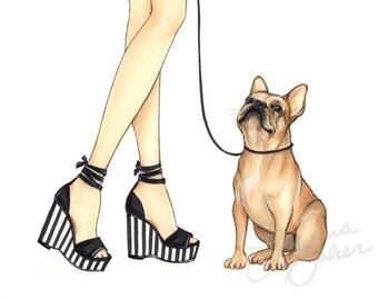 Striped Frenchie Fashion Illustration Art Print / Fashion Sketch Art, Fashion Art Print, Fashion Wall Art, Dog Art, French Bulldog Art Print