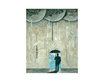 PRINT 8x10    LUCKY Man Umbrella abstract rain    by Elizabeth Rosen