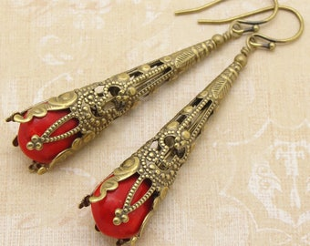 Red Bohemian Earrings in Victorian Style with Brass Filigree Cone by Cloud Cap Jewelry