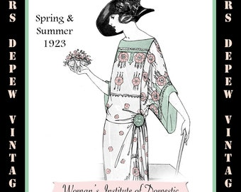Vintage Sewing Book Spring & Summer 1923 Fashion Service Magazine Dressmaking Ebook with Flapper Fashions -INSTANT DOWNLOAD-