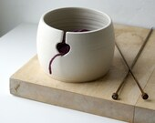 SECONDS SALE - Love heart yarn bowl in vanilla cream