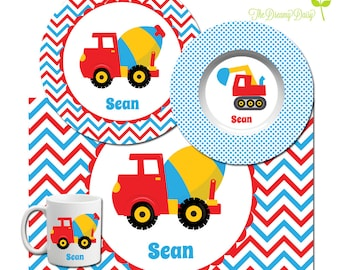 Construction Plate Set - Personalized Kids Plate, Bowl, Mug & Placemat - Boys' Truck Dinnerware - Custom Kids' Tableware - Microwave Safe