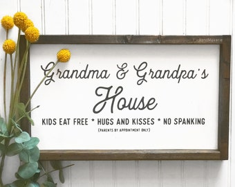 Grandma and Grandpas house | Painted Sign | Wood Sign | Grandma and Grandpa | Gift | Farmhouse Sign | Home and Living | Grandparents Gift