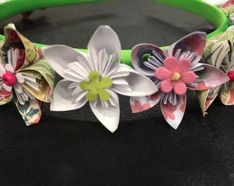 Green & White Flower Headband