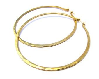XL 3 Inch Yellow  Brass Hoops
