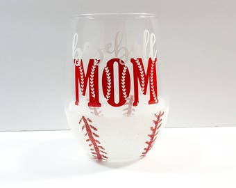 Baseball Wine Glass - Glitter Dipped Stemless Wine Glass - Team Mom Gift - Gift For Her - Gift For Mom - Stemless Wine Glass - Baseball Gift