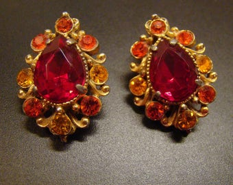 Bright and fiery Vintage Red & Orange Juliana Clip-back earrings