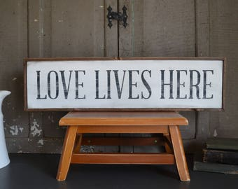 Love Lives Here Wood Sign