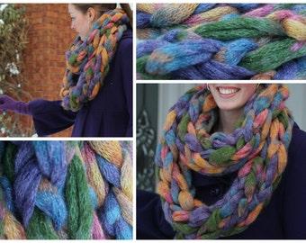 Infinity Scarf Chunky Purple & Gold Knit