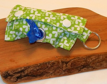 Lt Green & Flower Print Doggie Doody Bag Holder